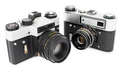 Two retro photo cameras Stock Images