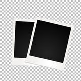 Two retro photo frames with shadow on transparent background. Stock Images