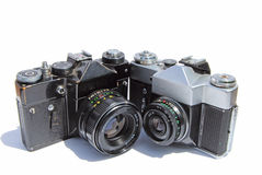 Two retro photocameras Stock Photos