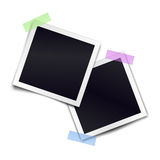 Two retro photorealistic photo frame sticked on duct tape Royalty Free Stock Photos