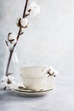 Two retro porcelain tea cups. On light gray background. Copy space Royalty Free Stock Photo