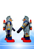 Two retro robots royalty free stock photography