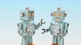 Two retro robots chatting with each other. Chatbot concept. 3D rendering animation stock video