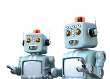 Two retro robots isolated on white background. 3D rendering image with clipping path Royalty Free Stock Image