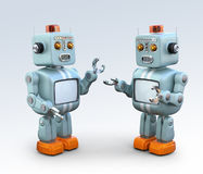 Two retro robots talking to each other. Chatbot concept. 3D rendering image Stock Image
