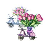Scooters with Flowers Royalty Free Stock Photography