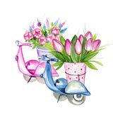 Scooters with Flowers Royalty Free Stock Image