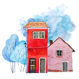 Two retro stone houses with winter trees and color spot on background. Hand drawn cartooon watercolor illustration. Two old stone houses with winter trees and vector illustration