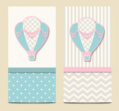 Two retro styled banner templates with vintage hot air balloon, illustration Stock Image