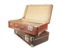 Two retro suitcases. Isolated over white background Stock Photography