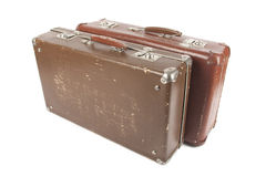 Two retro suitcases. Isolated over white background Royalty Free Stock Image