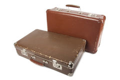 Two retro suitcases. Isolated over white background Royalty Free Stock Photography