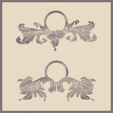 Two retro vintage flower frames Royalty Free Stock Photo