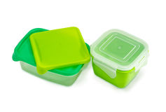 Two reusable plastic food storage containers for home use Stock Image