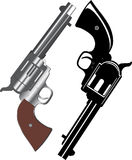 Two revolvers. Vector image of two revolvers on white background Stock Illustration