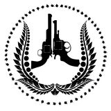 Two revolvers and a wreath Royalty Free Stock Image