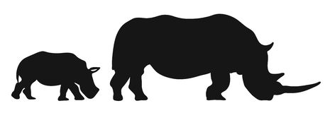 Two Rhinoceroses Silhouettes stock illustration