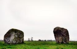 Two rhyolite boulders of Long Meg Stone Circle Royalty Free Stock Image