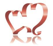 Two ribbon hearts Stock Photos