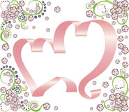 Two ribbon hearts with floral background. Two pink ribbon hearts with beautiful floral decor elements on a white background Stock Photography