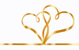 Two ribbon hearts. Two gold  ribbon hearts, isolated on a white background Stock Image