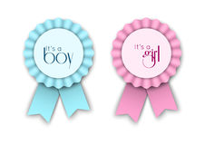 Two Ribbon Rosettes For Newborn Baby Royalty Free Stock Images