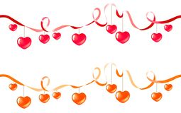 Two ribbons with hearts Royalty Free Stock Photos