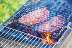 Two Ribeye Steaks Barbecue Stock Photography