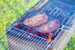 Two Ribeye Steaks Barbecue Royalty Free Stock Images