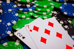 Two riches and seven singles bobey lie on poker chips, Lowball draw poker Blinds royalty free stock photography