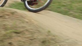Two riders on cycle race, spinning wheels contest, corners track. Stock footage stock video footage