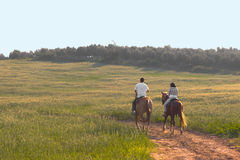 Two Riding on the Sunset Royalty Free Stock Images