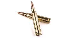 Two Rifle Bullets Royalty Free Stock Photos