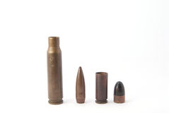 Two rifle bullets. On white background Royalty Free Stock Photo