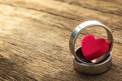 Two ring and heart shape Stock Photography