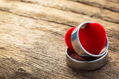 Two ring and heart shape Royalty Free Stock Images