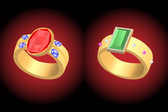 Two ring set with a stone Stock Images