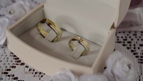 Wedding rings on the box stock video footage
