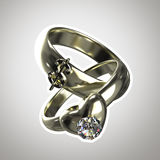 Two rings,. Two rings as an illustration for \marriage of convenience\  with a white stroke Stock Photos