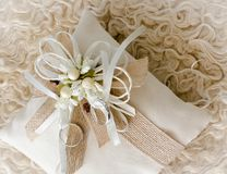 Two rings on decorated pillow. Two wedding rings on decorated pillow Stock Images
