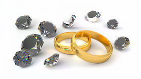 Two rings and diamonds Royalty Free Stock Photos