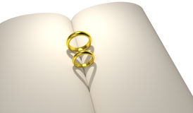 Gold ring heart shadow blank book Royalty Free Stock Image