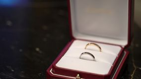 Two rings in a jewelry box. Two rings in a jewelry red box stock video footage