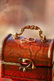 Two Rings On The Antique Box Royalty Free Stock Photos