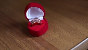 Two rings in a red box. Two wedding rings in a red box stock video footage