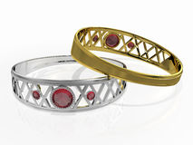 Two rings with red gem Stock Image