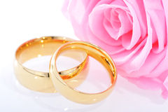 Two rings with rose Stock Photography