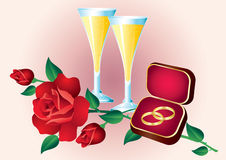 Two Rings, Roses And Glasses. Stock Photo