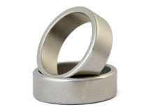 Two rings of silvery metal Stock Images