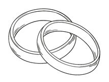 Two rings. Sketch of the two rings as a symbol of love, isolated vector illustration